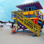 The life guard house,so many of them with different colour schemes