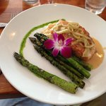 Pan-Seared Carmelized Salmon on Creamy Risotto and Grilled Asparagus