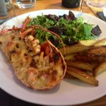 Lobster mornay with wedges and salad
