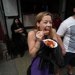 Vic enjoyin the famous Currywurst!