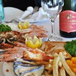 Fresh seafood & a glass of bubbly- perfect