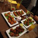 Starters: fried bananas, fried cheese, meatballs, chicken wings