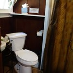 bathroom is basic and small, but adequate although lighting could be a lot better