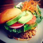 House made veggie burger with avocado, sharp cheddar, and cilantro aioli