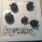 Chocolate dipped strawberries from the Conrad.