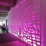 Mood lighting walkway from reception to dining area