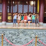 Inside the chinese temple with some of the villa guest and villa staff