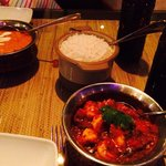 Prawn curry & chicken tika massala
