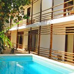 small plunge pool and first floor rooms