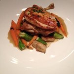 Roasted chicken with carrots, asparagus and potato gnocchi
