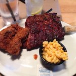 Rib and fried chicken with side of Mac and cheese. (Don't get Mac and cheese)