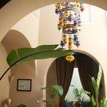 Breakfast nook with chandelier