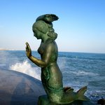 This mermaid statue is near the church front steps in Sitges.