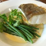Pan fried cod fillet, shallot & taragon sauce, crushed new potatoes, fine green beans.