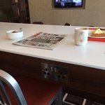 Breakfast bar has sockets