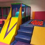 Indoor soft play area with 2 tier play frame