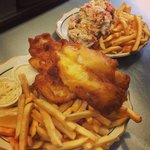Beer battered fish in chip but we also have are most popular light battered version with just cr