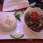 Com de xao lan - Rice with goat stir fried in lemon grass & herbs