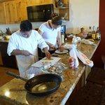 "Workers from ""El Matador"" restaurant prepare food"
