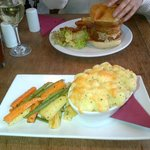 Fish pie with veg & veggie burger with chips