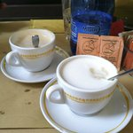 Our coffee at Caffe Zamboni, delicious!