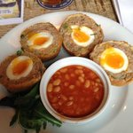 Runny scotch eggs with beans, what more could you want??