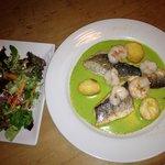 Lovely seabass and prawn main dish
