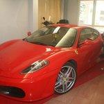 The prized Ferrari off the bar area