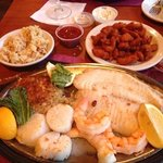 My beautiful seafood platter, big meal!