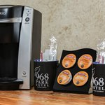 Keurig coffee maker and organic coffee in every room.