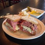 Pastrami, roast beef, Swiss, and cole slaw on rye!