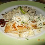coconut topped fish with brown rice