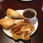 French dip sandwich with homemade chips