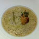 Artichoke soup with pan-fried foie gras and truffle emulsion