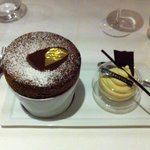 Chocolate soufflé and coin