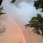 rainbow front of hotel