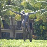 statue near the pool