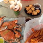 crabs, hush puppies, sweet potato fries