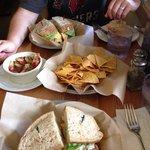Tuna sandwich, egg sandwich, and chips with island salsa!