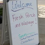 sign out front promising (and delivering) fresh perch