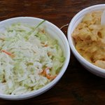 Homemade coleslaw and macaroni and cheese