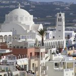 The Hotel Aressana is to the side of the white domed cathedral