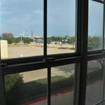 Six Flags over Texas, seen from the second room we occupied. Notice dirty window panes at right.