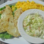 Grilled Hogfish with yellow rice and coleslaw