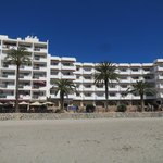 View to hotel building from the beach