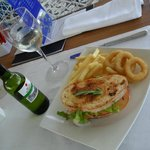 The cactus bar offers snacks at lunch time.this lovely cheese & loin sandwich was lovely, wine e