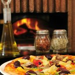 Thin crust wood fired pizzas