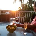 Sunset, drinks and nibbles on the balcony
