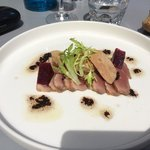 smoked duck roast-beef with goose liver, vinaigrette, port jelly