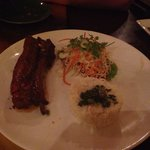 5 spice pork belly with coleslaw and coconut rice (amazing)